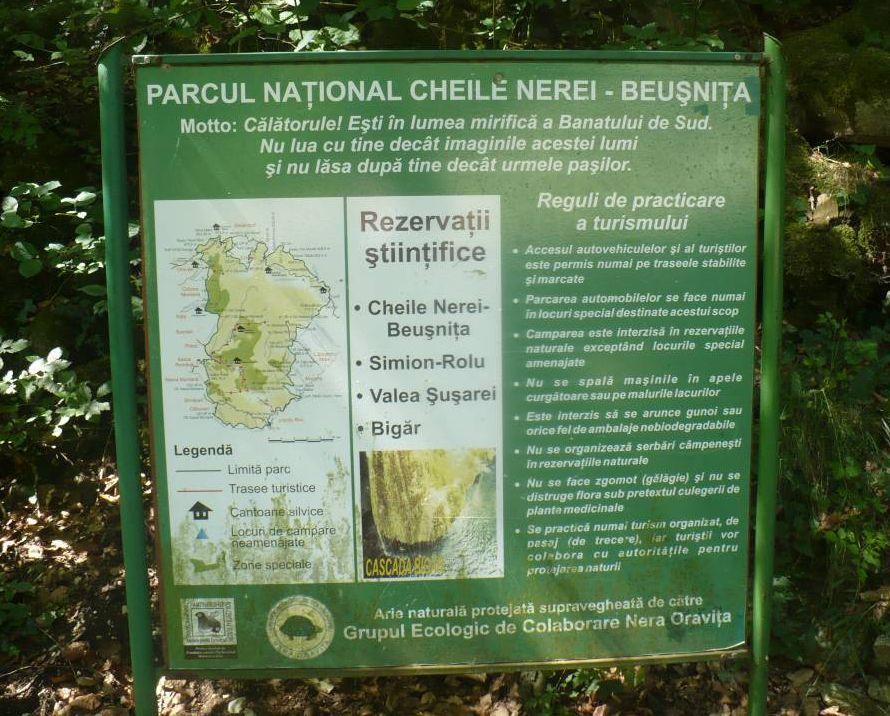 Panoul informativ de la Cascada Bigăr