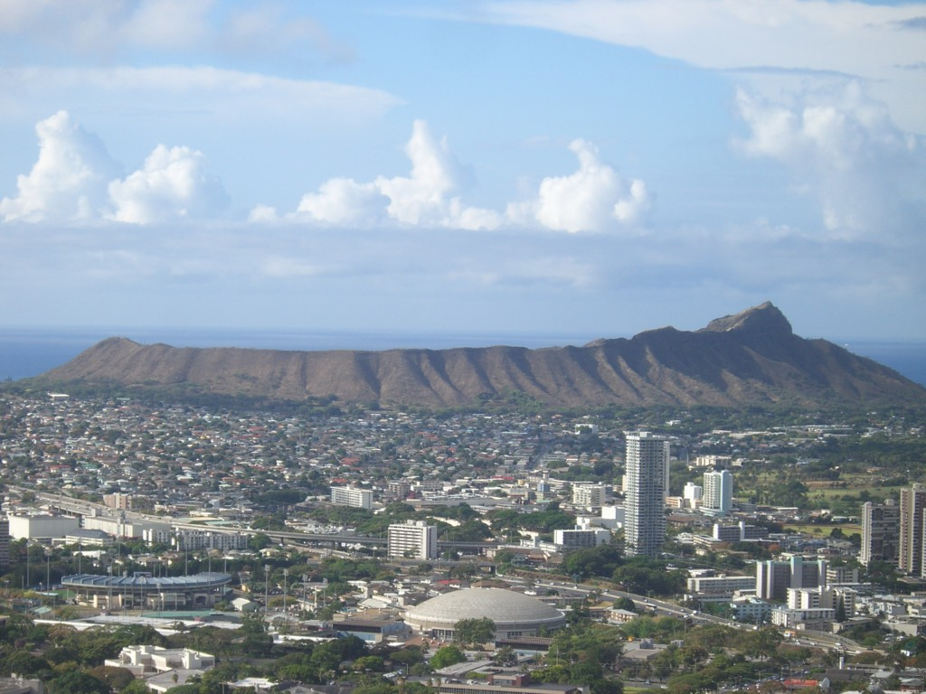 Diamond Head Crater și orașul Honolulu
