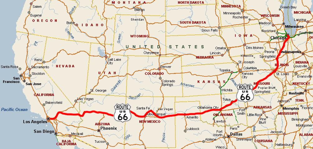 USA-Route-66-Karte