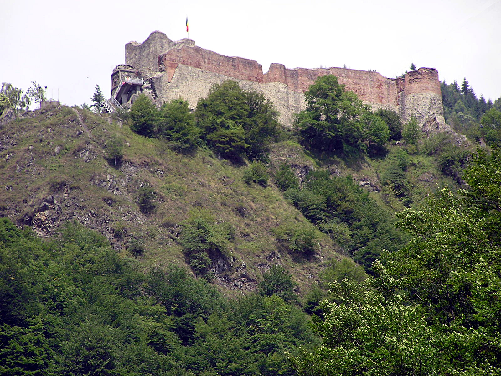 Castelul Poenari ivindu-se pe culmea muntelui