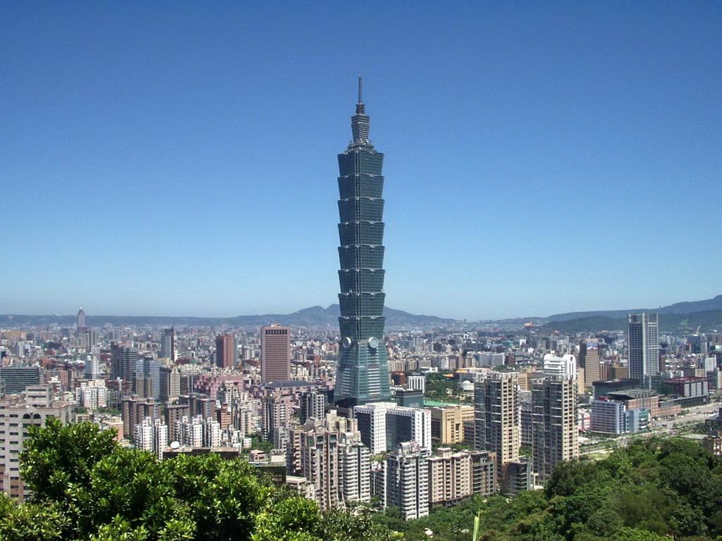 Clădirea Taipei 101în ansamblul panoramic al oraşului Taipei