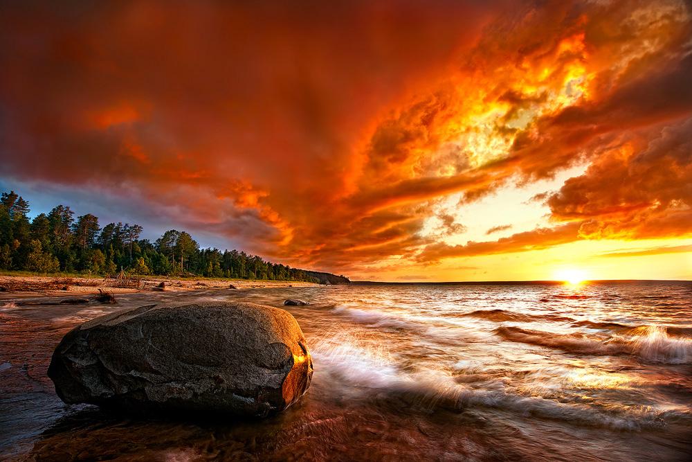 Lacul Superior, America de Nord, apus de soare