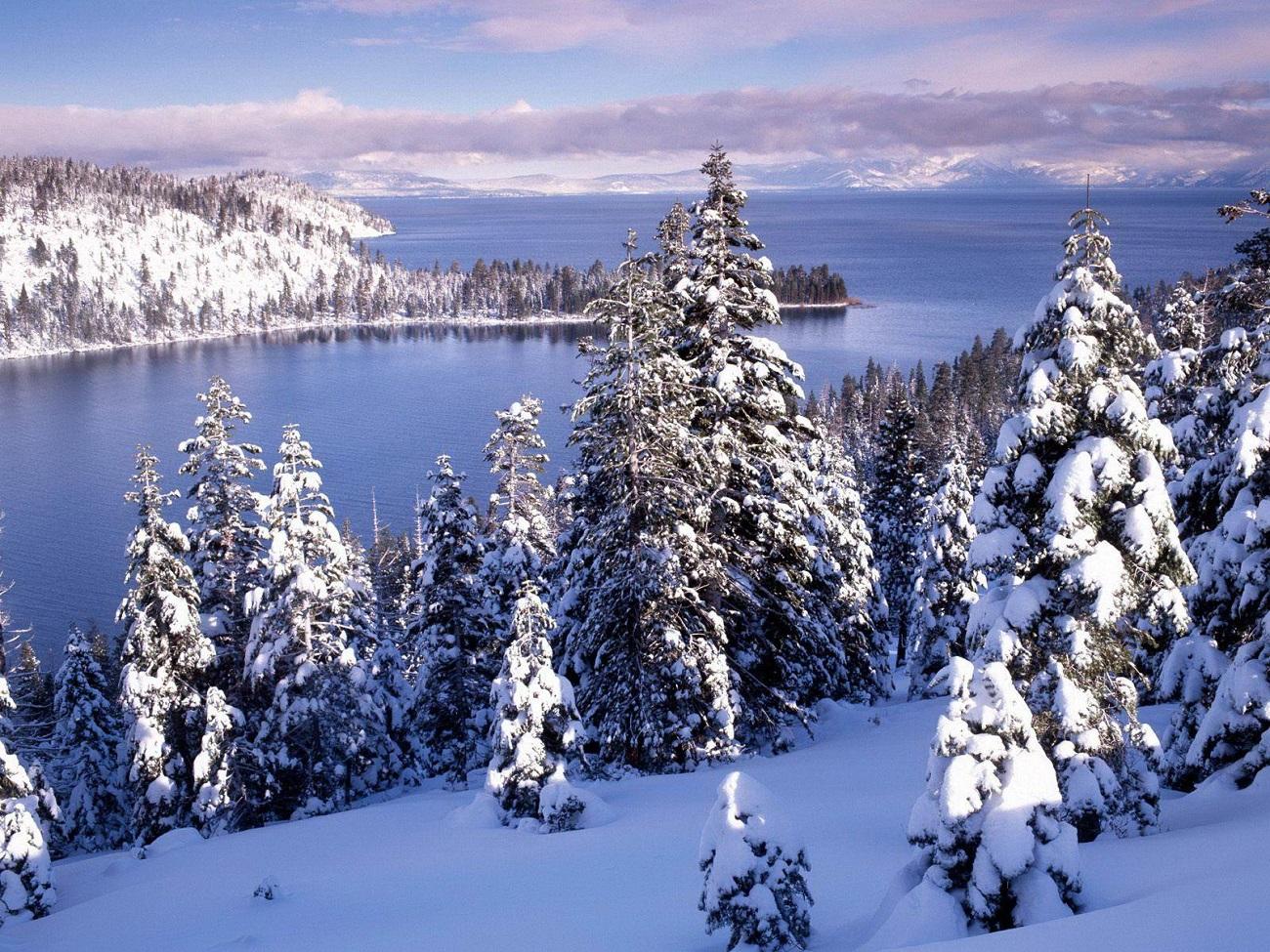 Lacul Tahoe, Sierra Nevada în perioada de iarnă