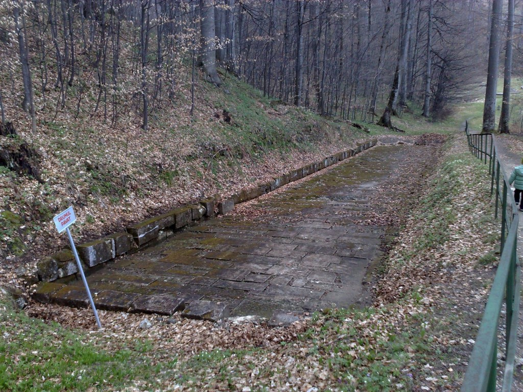 Secțiune de drum pavat de la Sarmisegetuza Regia; nu e rau pentru un drum vechi de doua mii de ani