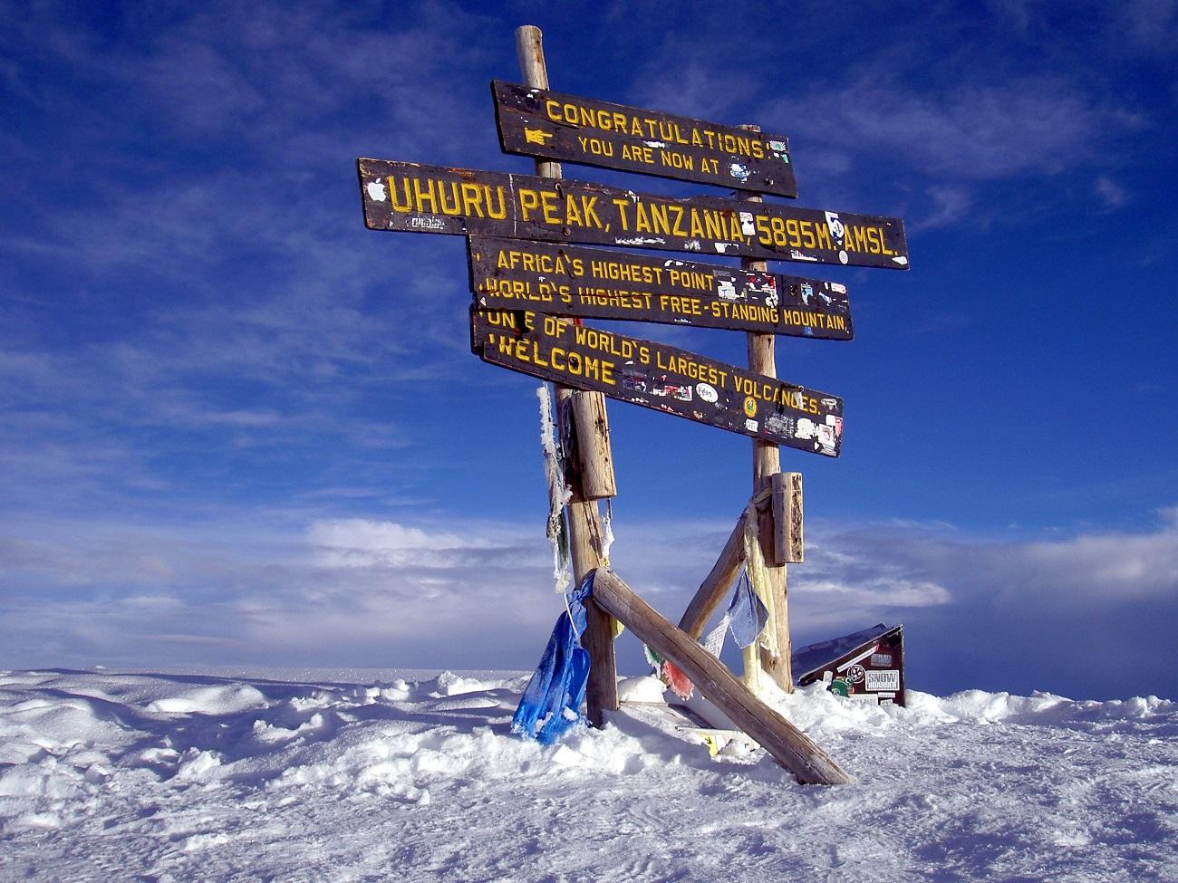 Uhuru Peak, cel mai înalt vârf al Muntelui Kilimanjaro