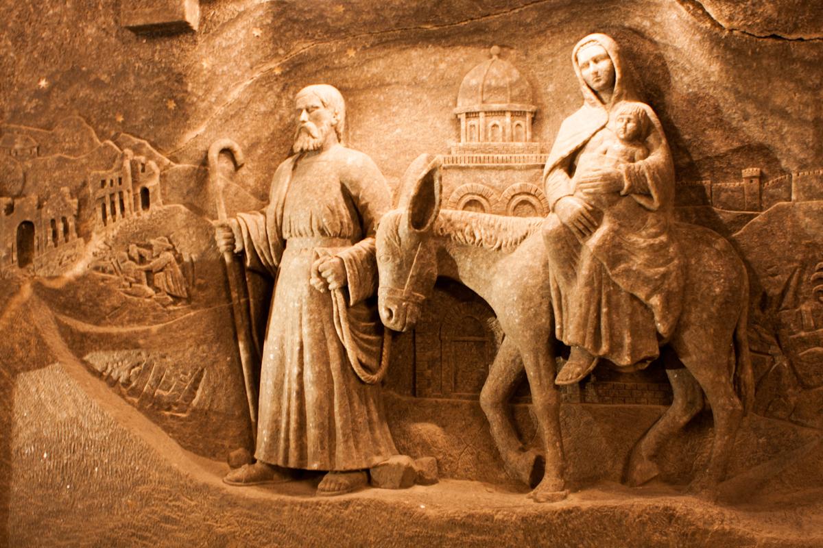 Wieliczka, Polonia, perete sculptat în sare