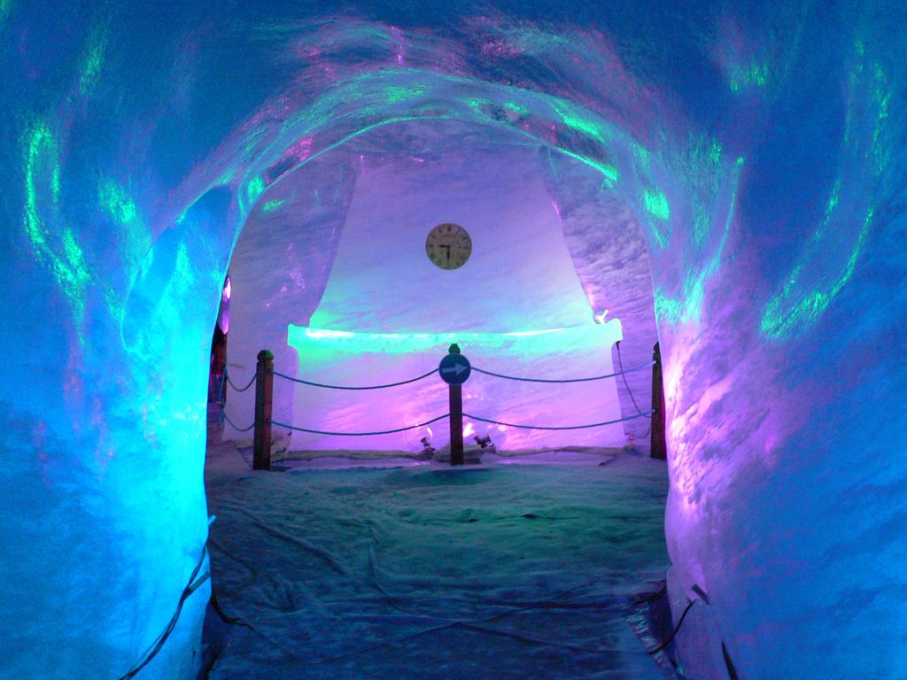Vedere din interiorul peşterii a gheţarului Mer de Glace