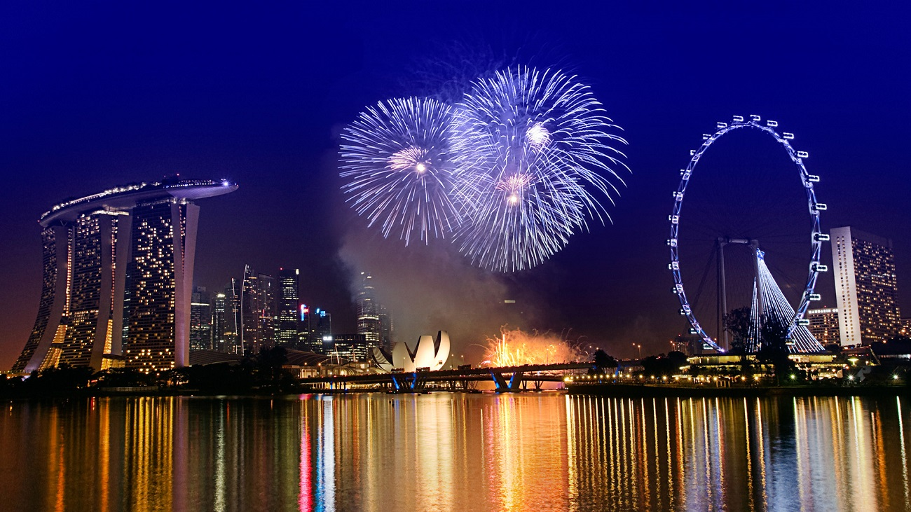Panorama din Singapore, în seara de Anul Nou