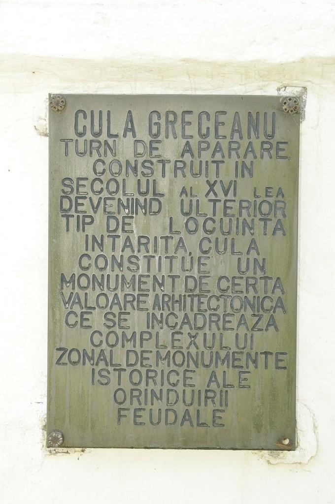 Placă comemorativă la Cula Greuceanu