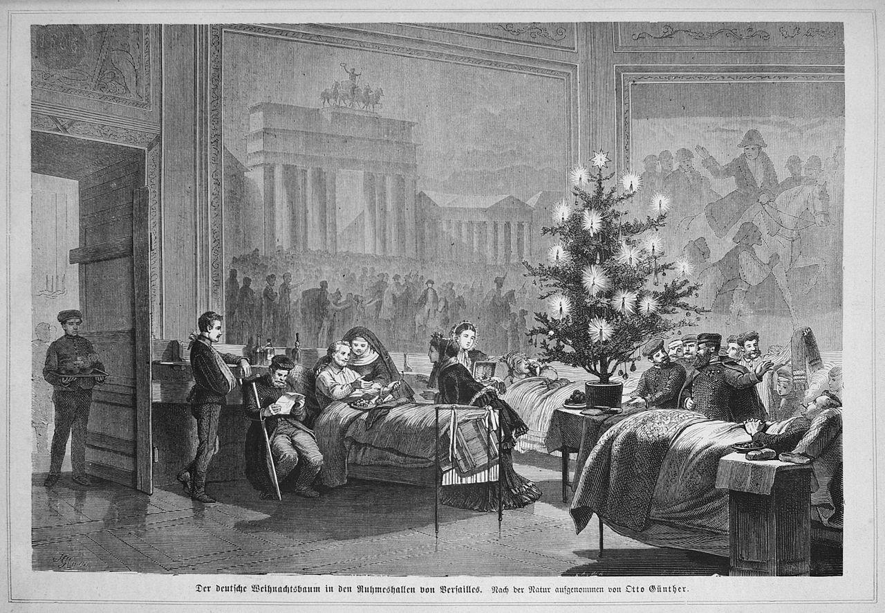 Pomul de Crăciun într-un spital din Germania, în timpul războiului franco-prusac