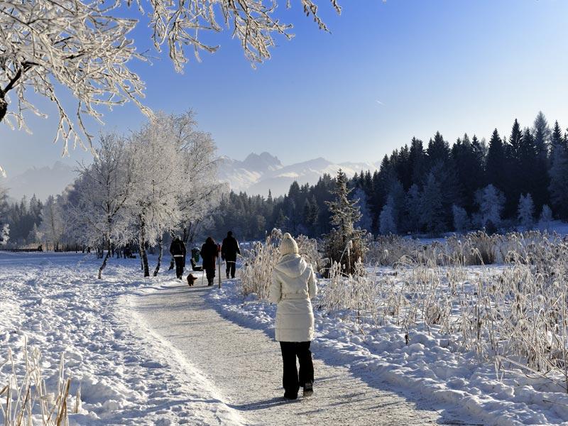 Traseu pentru drumeţii, curăţat de zăpadă