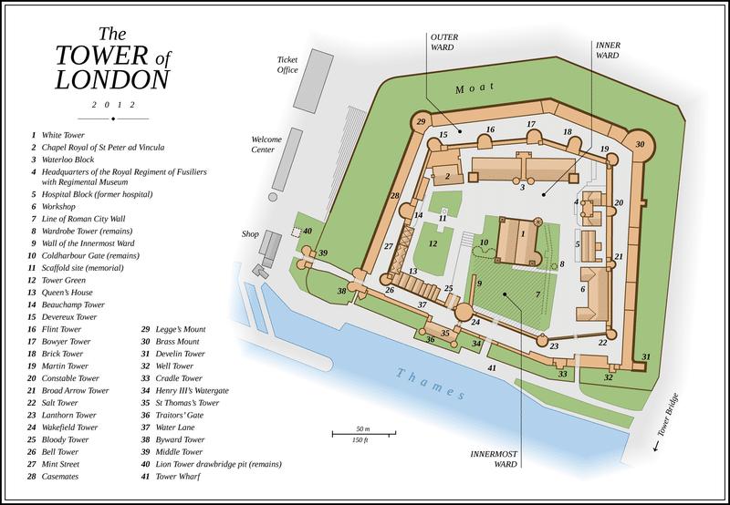 Harta oficială pentru Turnul Londrei