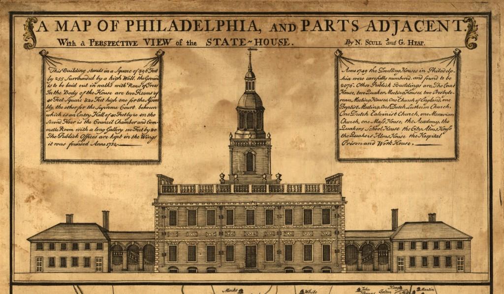 Independence Hall, imagine preluată după o veche hartă a orașului Philadelphia