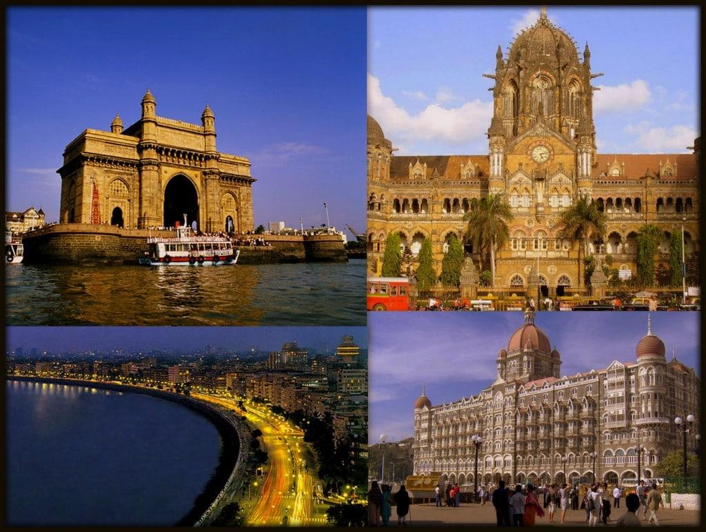 Monumente vechi  și clădiri moderne în Mumbai, India