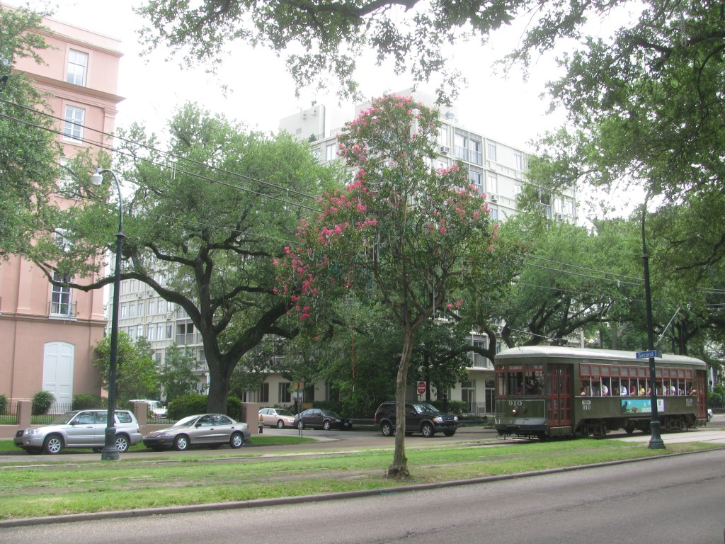 Strada St Charles din The Garden District și mărgelele de Mardi Gras răspândite prin copaci
