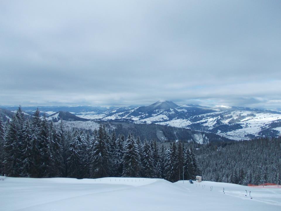 Vedere panoramică de pe Pârtia Veverița