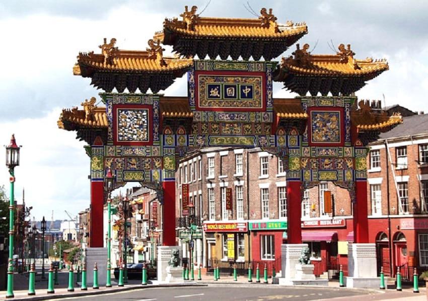 Arcul chinezesc din cartierul chinezesc din Liverpool