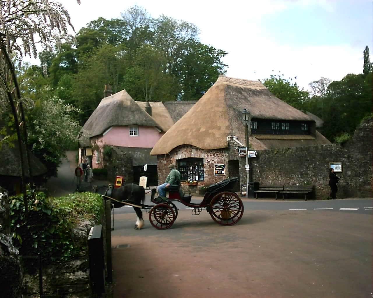 Trăsurile trase de cai sunt gata pregătite să conducă turiştii într-o lume de poveste