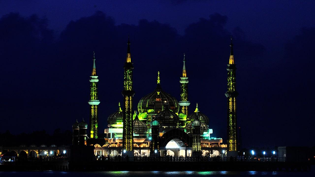 Moscheea de Cristal, noaptea